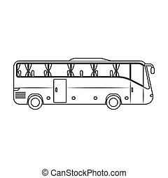 Green tour bus icon in outline style isolated on white...