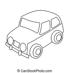 Car icon in outline style isolated on white background....