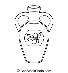 Bottle of olive oil icon in outline style isolated on white...
