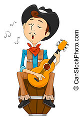 Cowboy Singing with clipping path