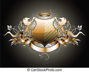heraldic shield - Vector illustration of heraldic shield or...