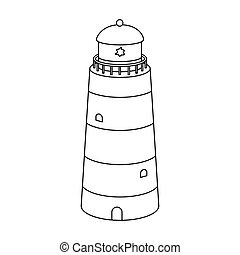 Lighthouse icon in outline style isolated on white...