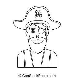 Pirate with eye patch icon in outline style isolated on...