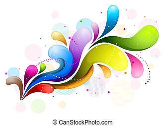 Abstract Rainbow Wave with clipping path