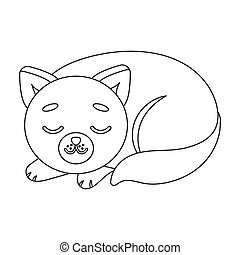 Sleeping cat icon in outline style isolated on white...