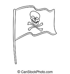 Pirate flag icon in outline style isolated on white...