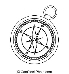 Compass icon in outline style isolated on white background....