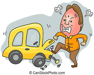 Car Trouble - Man Having Car Trouble with clipping path