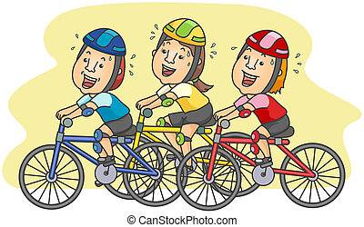 Cyclists with clipping path