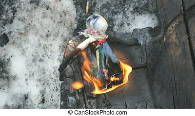 Burning of stuffed during Shrovetide carnival - Russian...