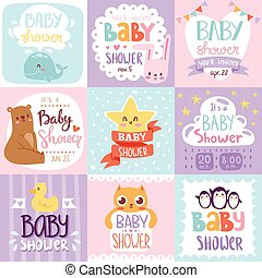 Baby shower invitation vector set card print design