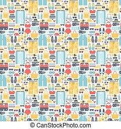 Summertime accessories seamless pattern vector. - Summertime...