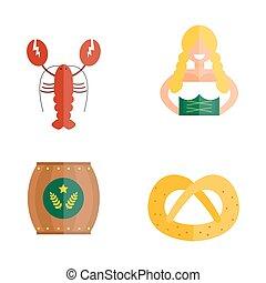 Oktoberfest girl serving beer icons vector. - Oktoberfest...