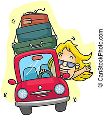 Road Trip - Girl traveling in Car with clipping path