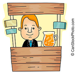 Lemonade Stand - Businessman with Lemonade Stand with...