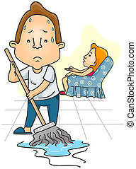 Man mopping Floor while Wife watches TV with clipping path