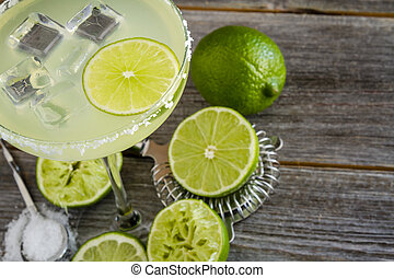 Classic Lime Margarita Drinks - Close up of classic lime...
