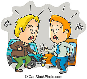 Car Accident - Two Drivers arguing about the Accident with...