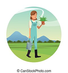 woman garden clothes with water can and pot plant-gardening...