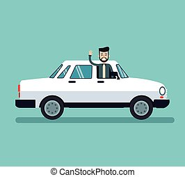 man beard hairstyle enjoying white car vector illustration...