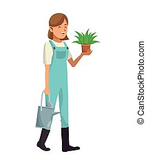 woman garden clothes with water can and pot plant vector...