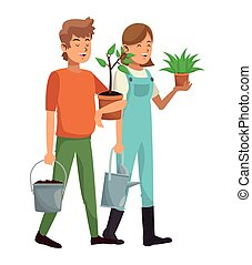gardeners couple plant pot water can vector illustration eps...