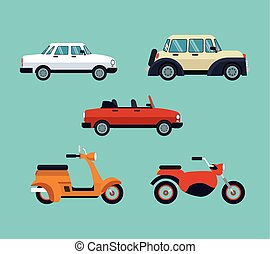 collection cars motorcycles expensive vector illustration...