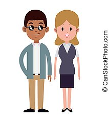 couple multi-ethnic formal style vector illustration eps 10