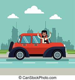afro american man beard classic car urban background vector...