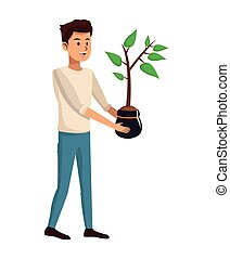 young man plant pot design vector illustration eps 10