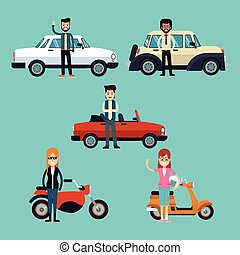 group people with motorcycle and car luxury