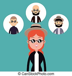 hipster woman hat sunglasses-faces man icons vector...