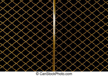 Golden radiator grille with black background.
