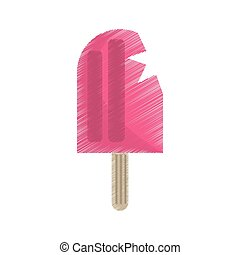 pink popsicle icon image design, vector illustration