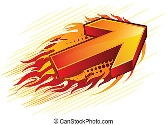 red arrow - red vector flame arrow