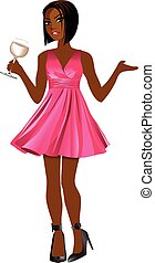 AsianWomanPinkDress - Vector Illustration of Asian woman...