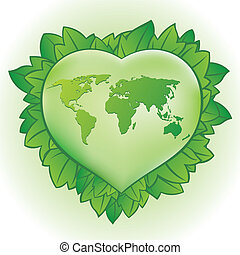 heart,green leaf