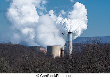 Smoke billowing from coal power plant - Smoke and steam...