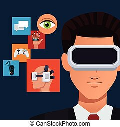 vr glasses face man icons technology