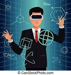 man using virtual reality glasses smart technology