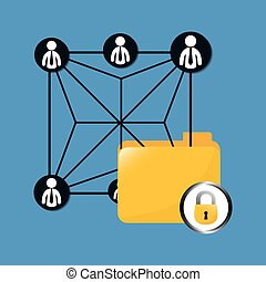 lock file data center related icon, vector illustration