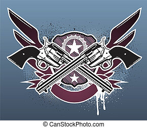 grunge - Vector illustration of Two cowboy revolver guns...