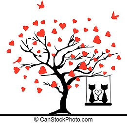 valentine tree - vector tree with hearts and cats swinging