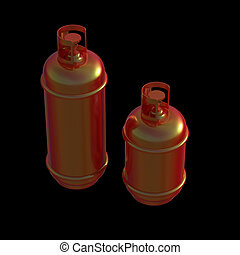 Propane gas cylinder isolated on a black background . 3d illustration