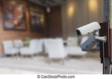 security cameras - cameras on city, concept of security and...