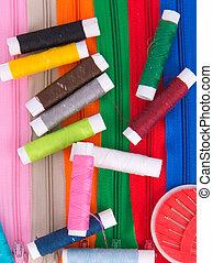 needlework thread and needle isolate on white background