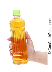 Hand holding bottle of japanese tea isolated on white...