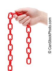 Hand holding red chain