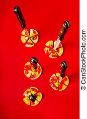 Evil pizza symbology - Still life photograph on a batch of...