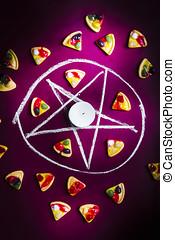 Satanic symbol of pizza sacrifice - Black magic in practise...